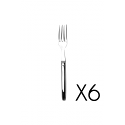 Set of 6 dessert fork Laguiole Prestige brilliant stainless steel