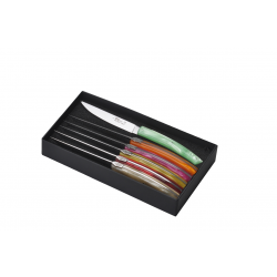 Set of 6 Le Thiers Pirou Brasserie knives - Mix of 6 pearly acrylic colors